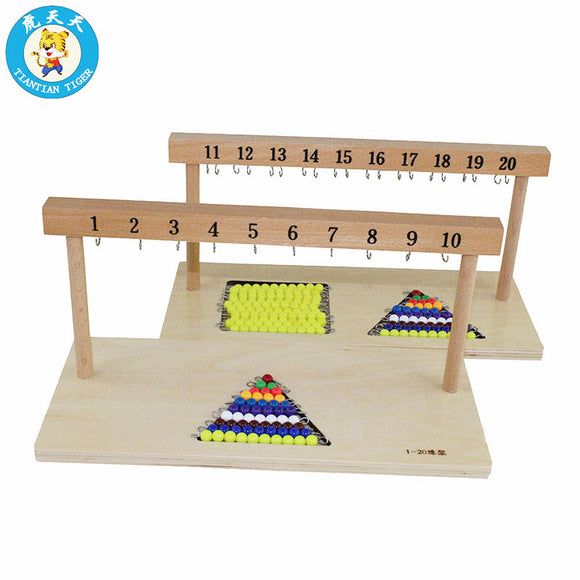 LEARN NUMBERS 1 TO 20 * HANGING WOODEN BOARD & SHORT BEAD STAIR