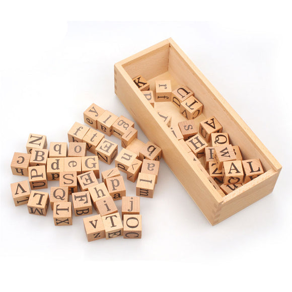 ALPHABET DICE IN WOODEN BOX * UPPER & LOWER CASE LETTERS *