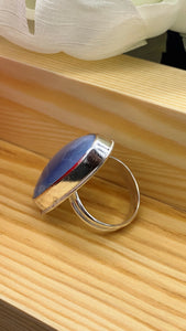 Blue Opal and sterling silver ring size 6 3/4-7