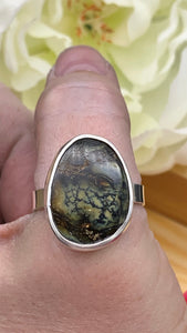 Damele Variscite and Sterling silver ring size 12 1/2