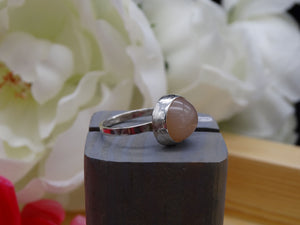 Peach Moonstone and silver ring size 6 1/2