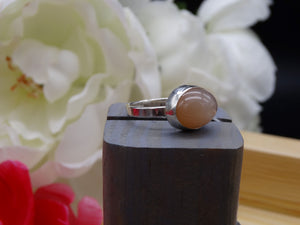 Peach Moonstone and silver ring size 5 1/2
