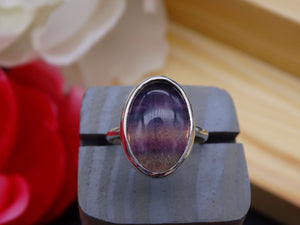 Banded Fluorite and silver ring size 9