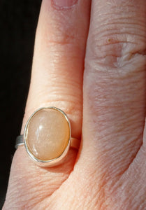 Peach Moonstone and silver ring size 4 1/2