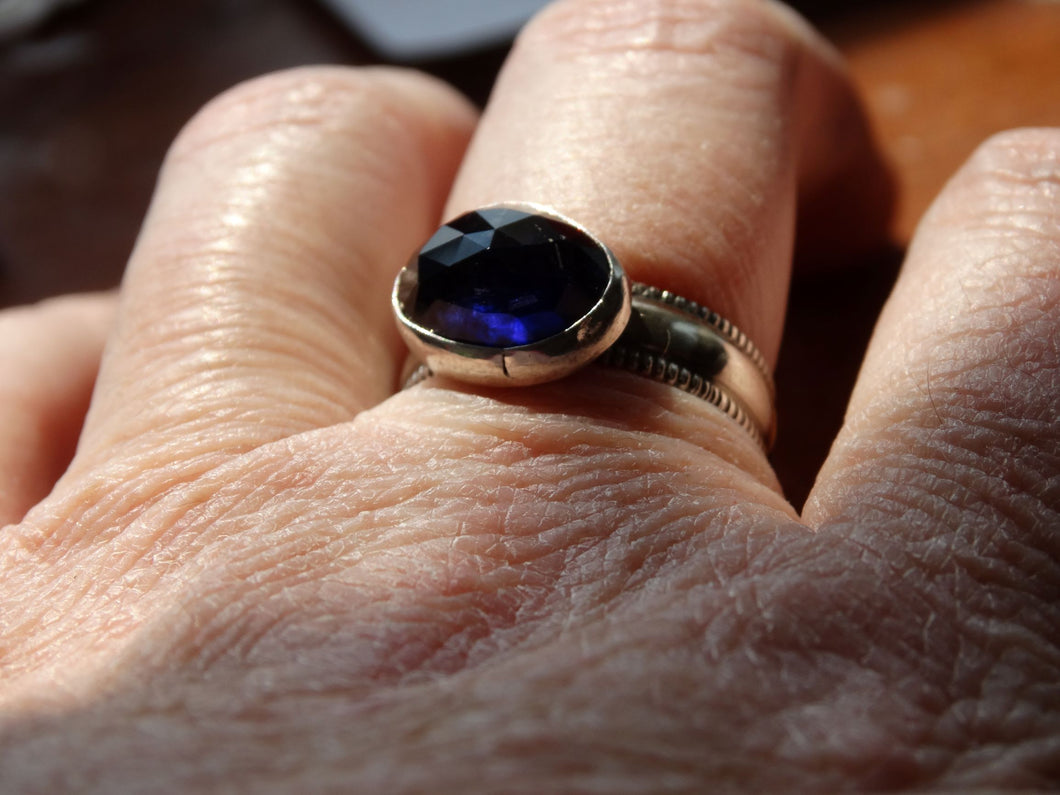 Iolite and silver ring size 8