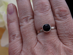 Black Onyx and silver ring size 8 3/4 - 9