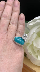 Fox Turquoise and sterling silver ring size 6