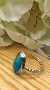 Kingman Turquoise and Silver Ring Size 9 1/2