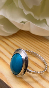 Kingman Turquoise and Silver Ring Size 8 1/2