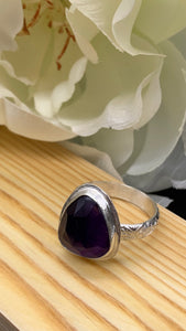 Amethyst and Silver Ring Size 8 1/2
