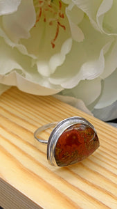Moroccan Seam Agate and Silver Ring Size 8 1/2