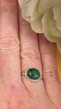 Load image into Gallery viewer, Natural Emerald and Silver Ring Size 8