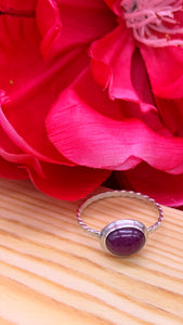 Natural Ruby and Silver Ring Size 7 3/4