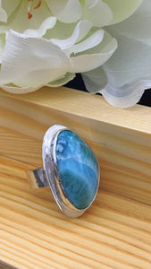 Larimar and Silver Ring Size 7 3/4