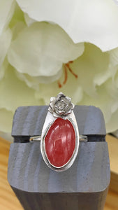 Rhodochrosite and Silver Ring Size 7 1/2 - 7 3/4