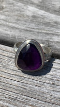 Load image into Gallery viewer, Amethyst and Silver Ring Size 8 1/2