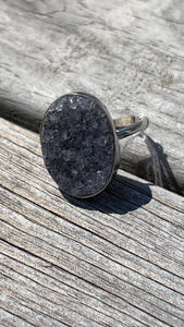 Black Druzy and silver ring size 8 1/2