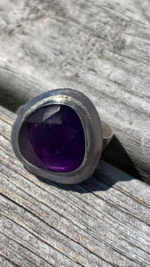 Amethyst and Silver Ring Size 6 1/2