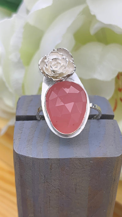 Guava Quartz and Silver Ring Size 9 1/4-9 1/2