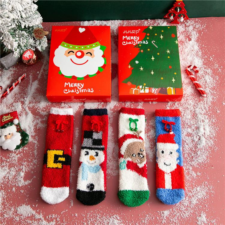 Christmas Jingle Bell Plush Socks Colorful Warm Xmas Fuzzy Socks Fluffy Bed Socks for Adult & Kids - 4 Pairs