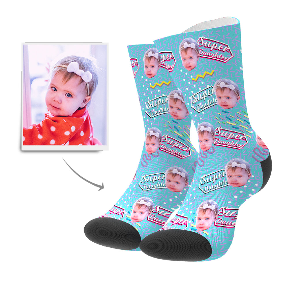 Super Daughter Retro Personalisierte Gesicht Socken