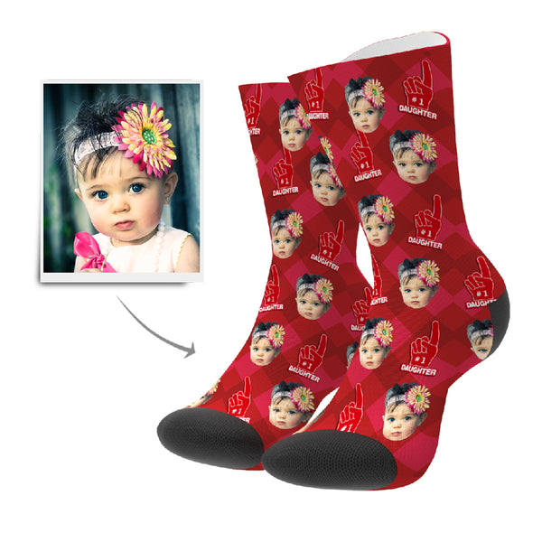Daughter Fan Personalisierte Gesicht Socken