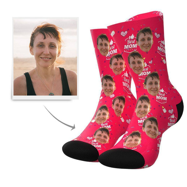 Best Mom Personalisierte Gesicht Socken