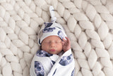 'Over the Moon' Swaddle Blanket and New Born Top Knot Beanie Set