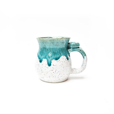 Michael Lemer - Speckle White & Turquoise Drip Belly Mug