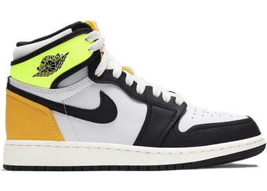 Jordan 1 Retro High White Black Volt University Gold (GS)