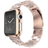 Gold Plated Cover Case Stainless Steel Watch Band  Strap + Adjust Tool For Apple Watch Series 1/2/3 + 42mm/38mm