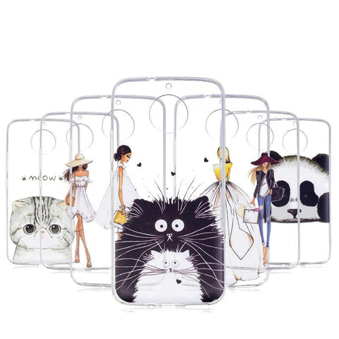 Transparent Phone Case Lovely Animal Cat Silicon Soft TPU For Motorola Moto G5S - Smart Shopping Shop