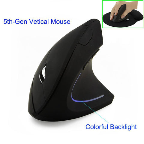Wireless Mouse Ergonomic 2.4G 800/1200/1600DPI Colorful Light with Mouse Pad - Smart Shopping Shop