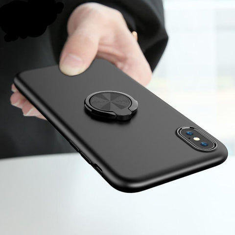 Soft Silicone Cover with Ring Holder For iPhone Series