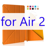 For iPad Air 2 Air 1 Case Silicone Soft Back Ultra Thin Slim PU Leather Smart Cover for Apple iPad Air Case [Multi-Fold Stand] - Smart Shopping Shop