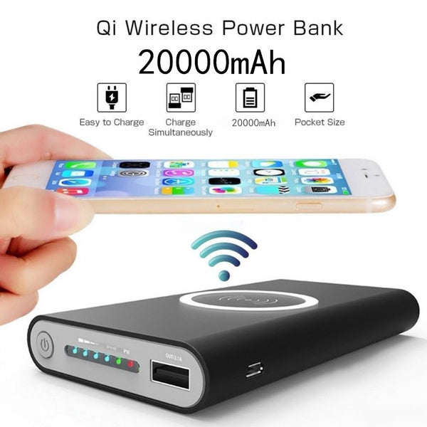 20000mah Power Bank External Battery Bank Built-in Wireless Charger Powerbank Portable QI Wireless Charger for iPhone 8 8plus X - Smart Shopping Shop