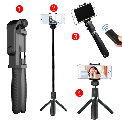 Selfie Stick Tripod With Bluetooth Remote Control for iPhone, Gopro Sport Camera