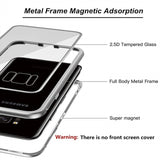 Metal Magnetic Adsorption Case Clear Tempered Glass For Samsung Series