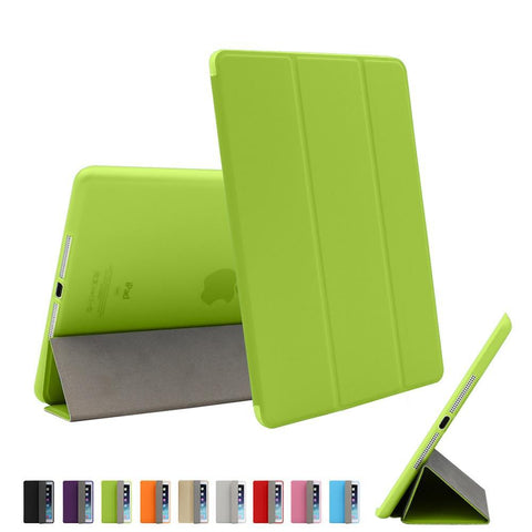 For iPad Air 2 Air 1 Case Cover with Stand, Ultra Thin PU Leather + Silicone - Smart Shopping Shop