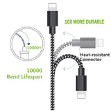 Lightning Nylon USB Cable 2.1 A  Fast Charging Data for all compatible Apple devices