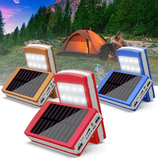 Solar LED Portable Dual USB Power Bank External Battery Charger battery not included