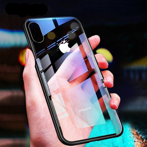 Luxury Clear Back Cover Glass Phone Case For Apple iPhone Series