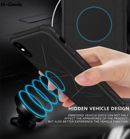 Black Magnetic TPU Cover Magnet Car Phone Holder Case for Samsung Series - Smart Shopping Shop
