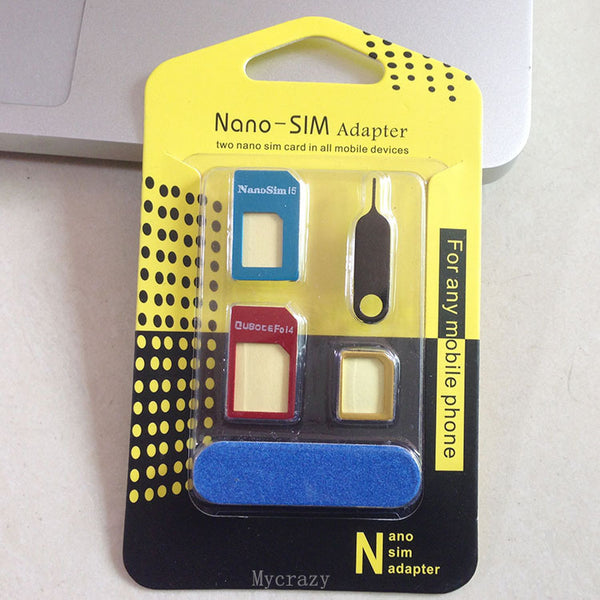 High Quality 5 in 1 Metal Nano Sim Card to Micro Sim Card Standard Sim Card Adapter Adaptor Tools