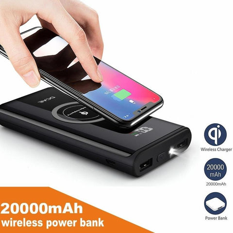 Wireless Charger Power Bank 20000mah LED Display External Battery