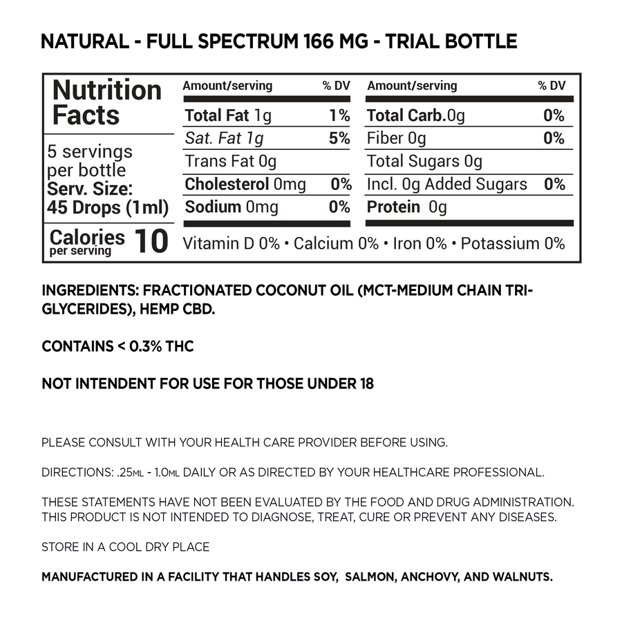 Full Spectrum Trial Bottle 166mg CBD Tinctures (Liquids)