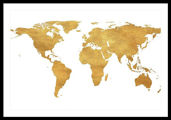 Gold World Map Framed Print by South Social Studio