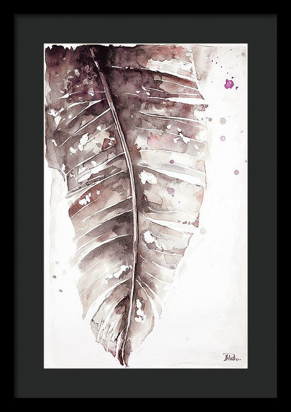 Muted Watercolor Plantain Leaves I Framed Print by Patricia Pinto