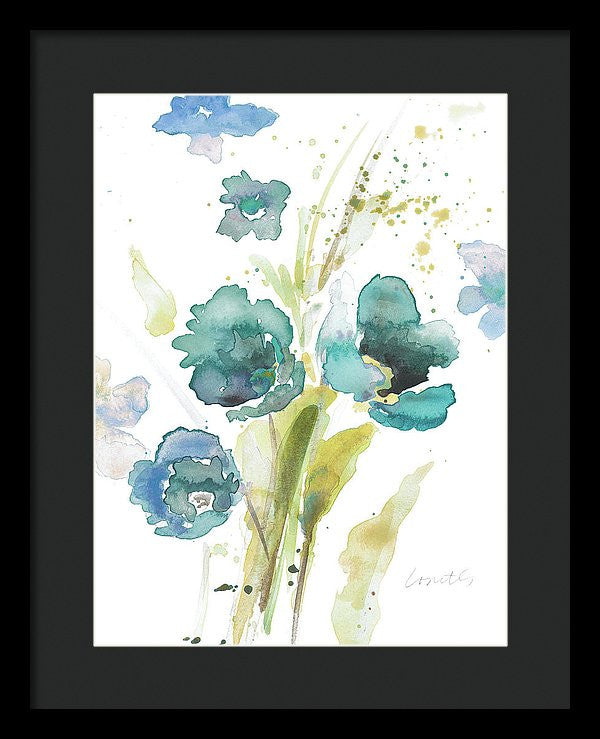 Watercolor Modern Blue Poppies Framed Print by Lanie Loreth