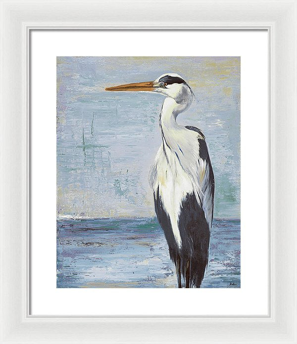 Blue Heron On Blue II Framed Print by Patricia Pinto
